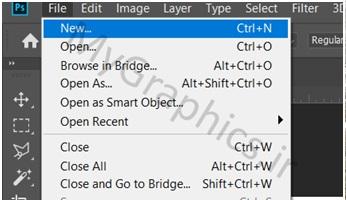 ایجاد یک فایل خالی در فتوشاپ